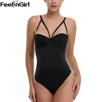 FeelinGirl Vestido Backless Shapewear Deep Plunge Thong Body Shaper Tops Invisible Bra Under Dress Sexy Clear