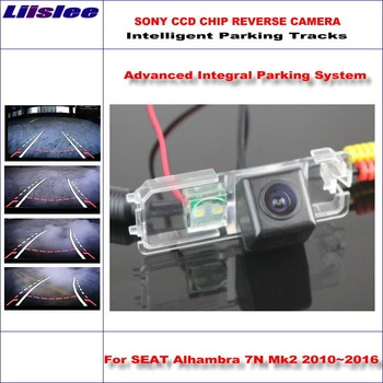 Liislee HD CCD SONY Rear Camera For SEAT Alhambra 7N Mk2 2010~2016 Intelligent Parking Tracks Reverse Backup / NTSC RCA AUX