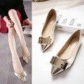 En la primavera de 2016 nuevos zapatos de lentejuelas planas de los talones de oro zapatos de un solo color, zapatos de moda b2