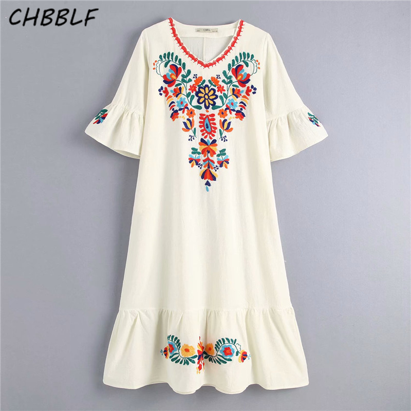 CHBBLF women Chinese style floral embroidery dress short flare sleeve female elegant pleated dresses C8888
