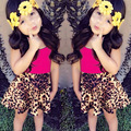 Leopard Clothing Sets Summer Girls Tank Tops And Skirt 2piece/sets Summer Girls Best Wear D04X16