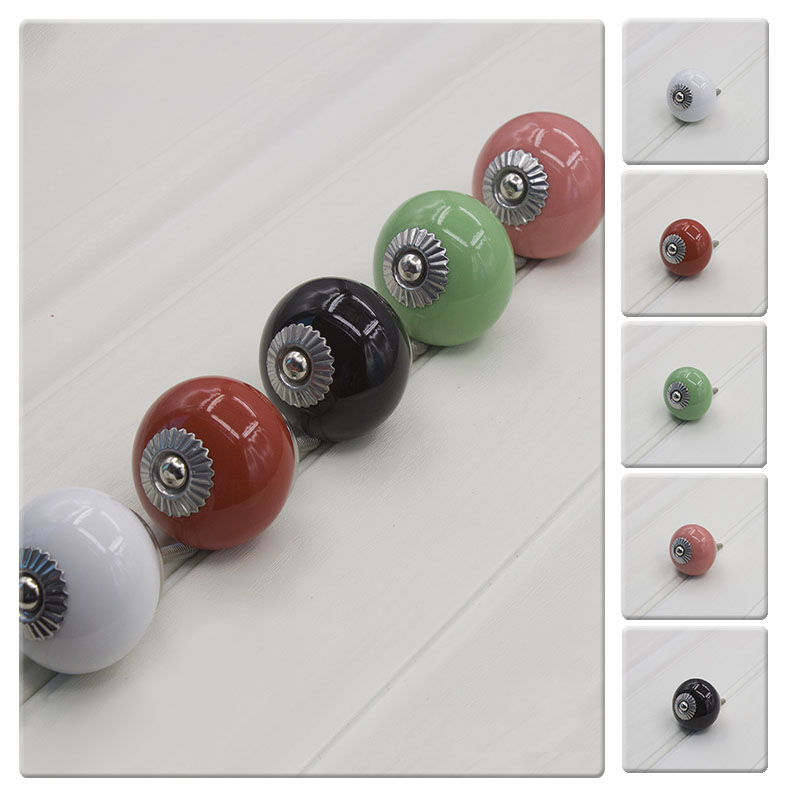 Antique Multi Color Circular Ceramic Door Knob Knobs Drawer Dresser Wardrobe Cupboard Pull Handles Cabinet Handle With Screws multi color flower rose ceramic kitchen cupboard cabinet door knob kid s room wardrobe drawer pull handle knob