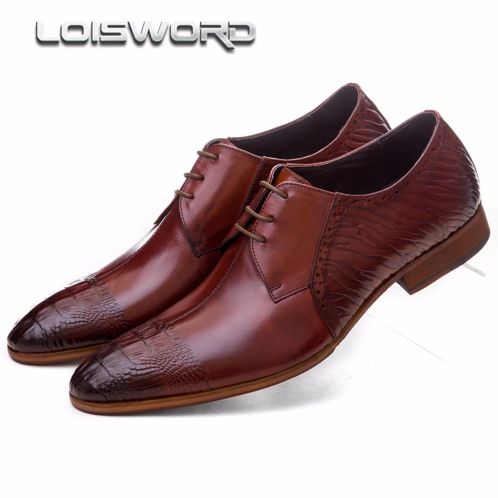 LOISWORD fashion brown tan / black mens dress shoes genuine leather oxford business shoes mens wedding shoes top quality crocodile grain black oxfords mens dress shoes genuine leather business shoes mens formal wedding shoes