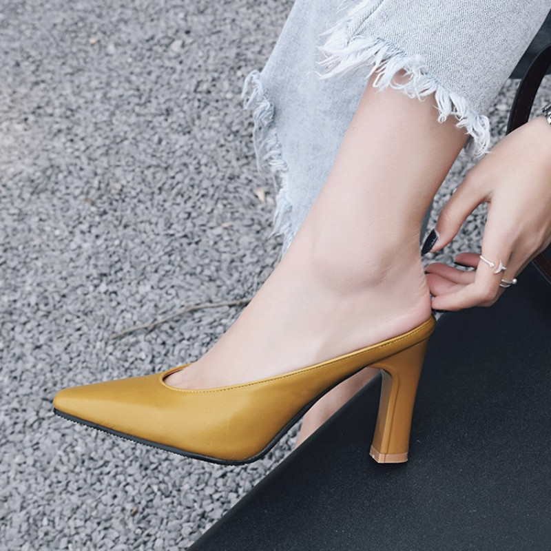Plus Size 34 46 New Spring Summer Women Slipper Outdoor Pointed Toe Square Heel Ladies Slides Women Fashion Pumps Mules Shoes in Slippers from Shoes