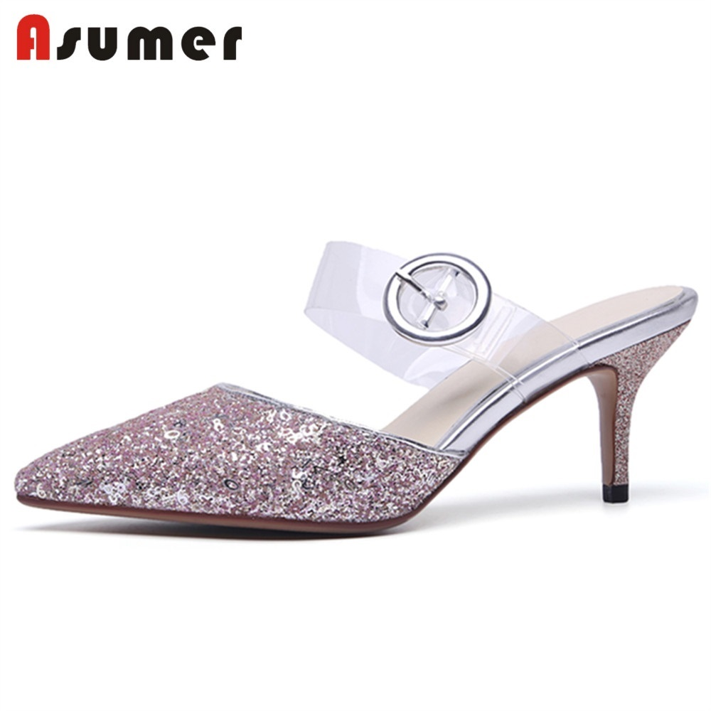 ASUMER Sandals Women Party-Shoes Sequined-Cloth-Shoes Mules Transparent-Strap Pointed-Toe