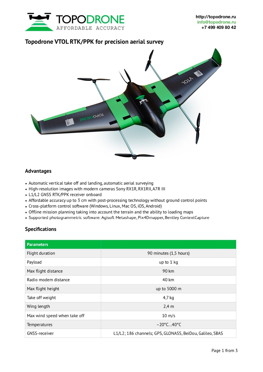 HOT SALE] Topodrone VTOL RTK/PPK for precision aerial survey