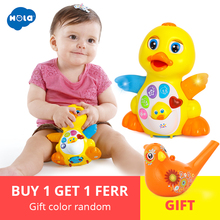 Купить с кэшбэком Huile Toys 808 Dancing Duck Battery Operated Toy Figure Action Toy With Flashing Lights Electric Universal Musical Baby Toys