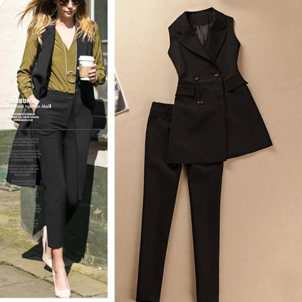 Spring and Autumn new tide suit two piece long vest jacket female fashion suit feet pants