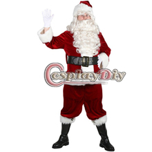 Cosplaydiy Free Shipping Customized Christmas Santa Clause Cosplay Costume include hat+wigs+ shoe cover+Christmas Bag