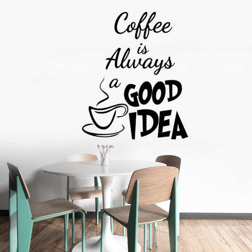 Cafe Shop Decor Coffee Cup Wall Sticker Kitchen Cafe Wall Decor Coffee Quote Removable Wall Mural Creative Decoration Ay1420