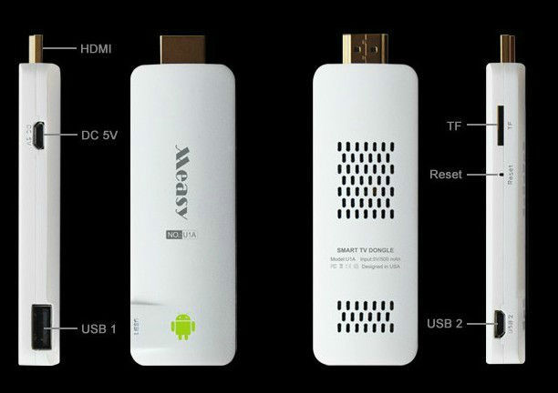 Free shipping ! Measy U1A Android 4.0 TV Dongle Stick Media Player Cortex A8 1.2GHz USB WiFi PC