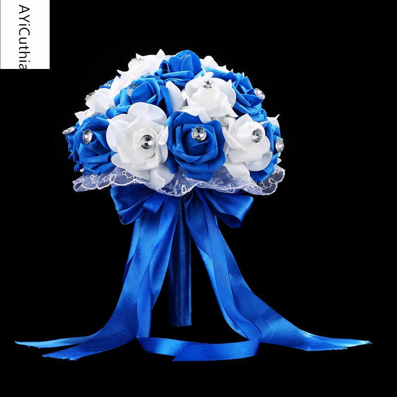 AYiCuthia Bridal Bouquet for Wedding Blue and White Wedding Bouquet Handmade Artificial Flower Rose buque casamento s133