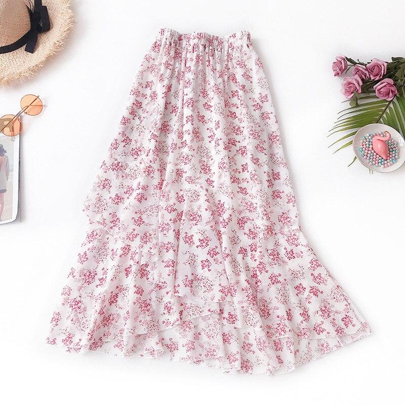 Wasteheart Black Pink White Spring Women Skirt High Waist A-Line Ankle Long Skirt Sexy Skirt Casual Ruffles Chiffon Asymmetrical