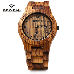 Bewell 086B Luxury Brand Wood Watch Men Analog Quartz Movement Date Waterproof Handmade Wooden Watches Male Wristwatches relogio