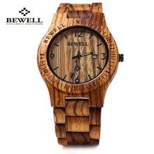 ZS-W086B Bewell Reloj De Madera de la Marca de Lujo de Los Hombres Movimiento de Cuarzo Analógico Fecha Impermeable Relojes De Madera Masculino relógio