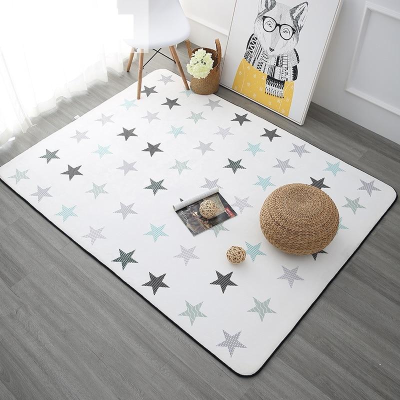 Five Pointed Stars Carpets For Living Room Soft Velvet Rugs For Bedroom Children Room Play Floor