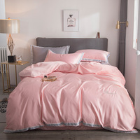 Luxury Pink Satin Silk Bedding Set Queen King Size Printing Pillowcase Duvet Cover Sets Silk Bedroom summer Products bedclothes