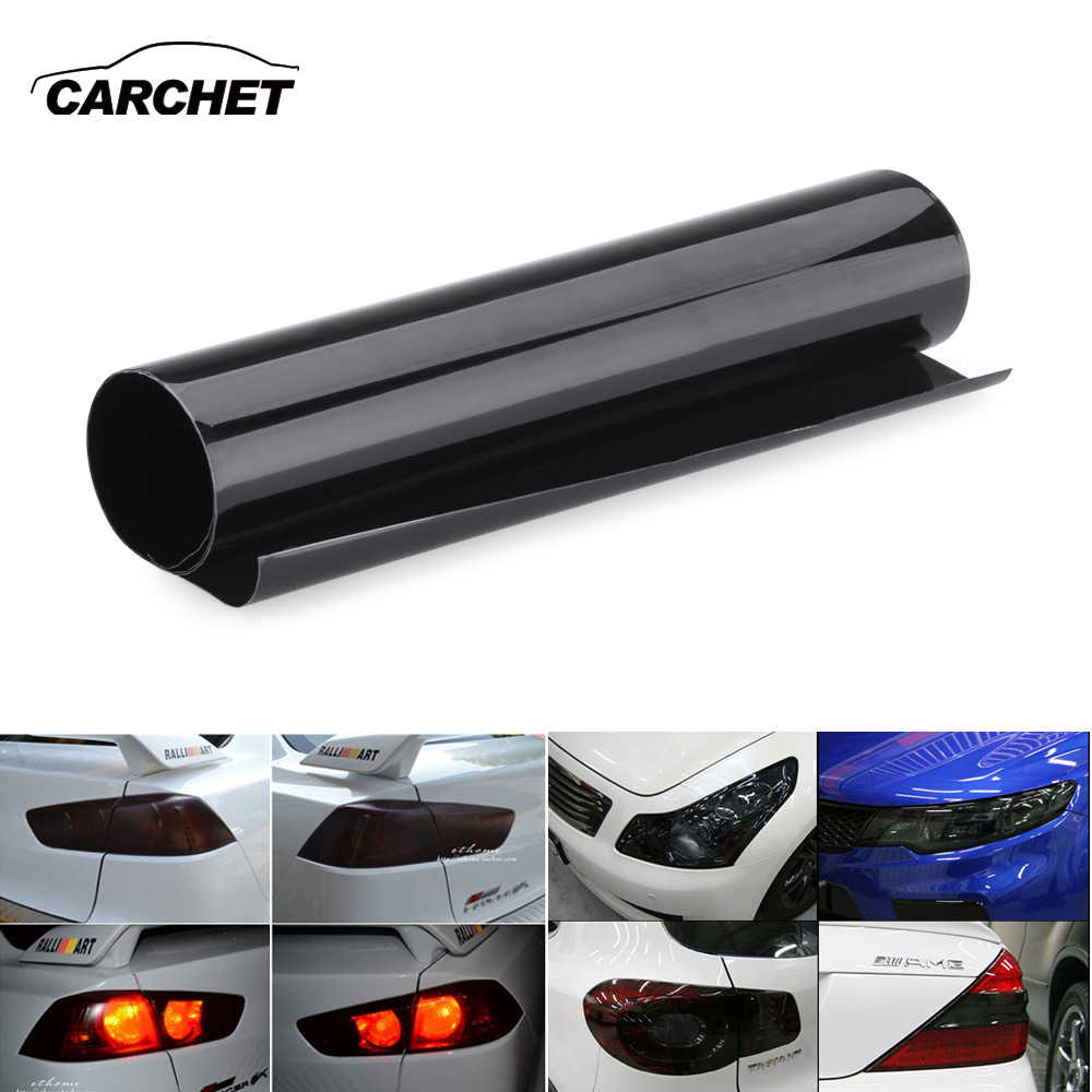 "CARCHET Car Light Sticker 30x60cm Auto Film Taillight Headlight Fog Stickers Decorative Films Vinyl Cover 12x24"" Black"