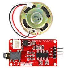 Uart série mp3 player de música módulo com 1 w alto-falante para arduino a bordo monaural amplificador/alto-falante tomada para jogar mp3 wav áudio
