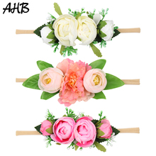 AHB Artificial Floral Newborn Headband for Wedding Party Fake Flower Head Band Baby Girls Photography PropsHair Accessories