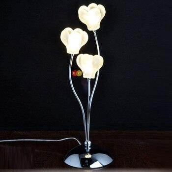 Tiny Modern Bedroom Bedsides Table Lights Glass wintersweet Petals Chrome Base Luxury exquisite Desk lighting Fixtures