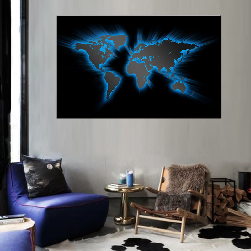 1 PCS Abstract Light Blue World Maps Canvas Prints Painting Huge ...