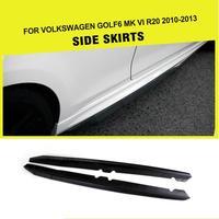 Car Styling Carbon Fiber / FRP Side Skirts Extension Apron Lip for VW Golf MK6 R20 Bumper Only 2010 2013