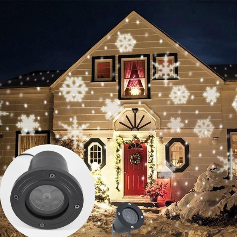 Waterproof Christmas Laser Light LED Dynamic Snowflake Effect Lights Outdoor Projector Lamp Garden Moving Xmas Stage Party Light недорого