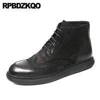 Высокие кроссовки Ботильоны удобные пинетки Wingtip Мужские зимние ботинки с мехом на плоской подошве броги на шнуровке кожаные туфли с натура