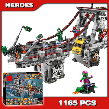1165pcs Super Heroes Spider-Man Web Warriors Ultimate Bridge 07038 DIY Model Building Kit Blocks Gifts Toys Compatible With