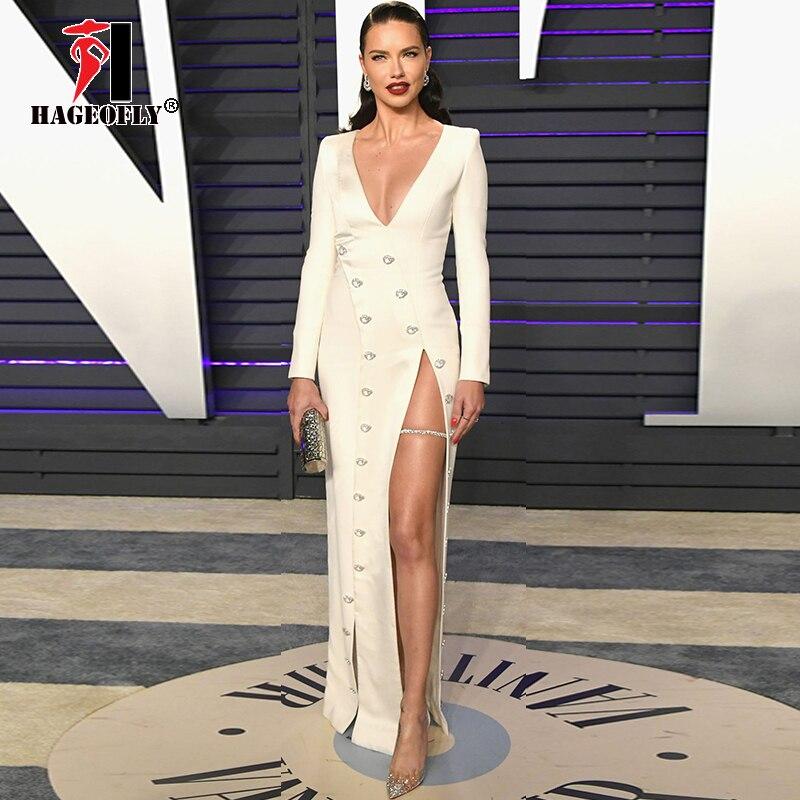 2019 New Designer White Maxi Bandage Dress Women New Sexy Long Sleeve High Slit Ankle length