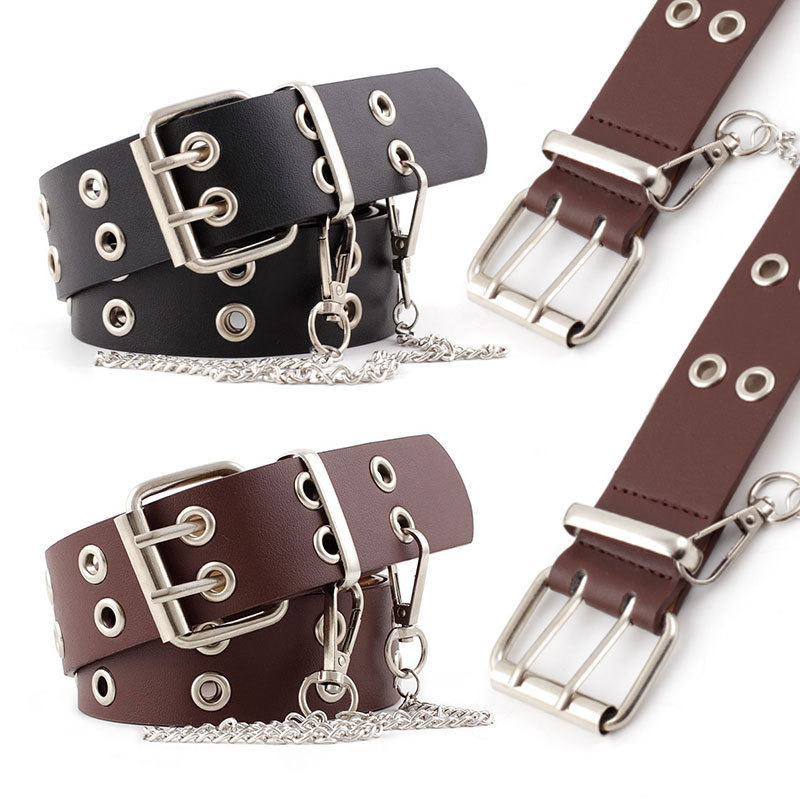 Punk Rock Chain Belts Women Black Brown Steampunk Cowgirl Adjustable Eyelet Grommet Leather Waist Belt Hole Hollow Female Ladies