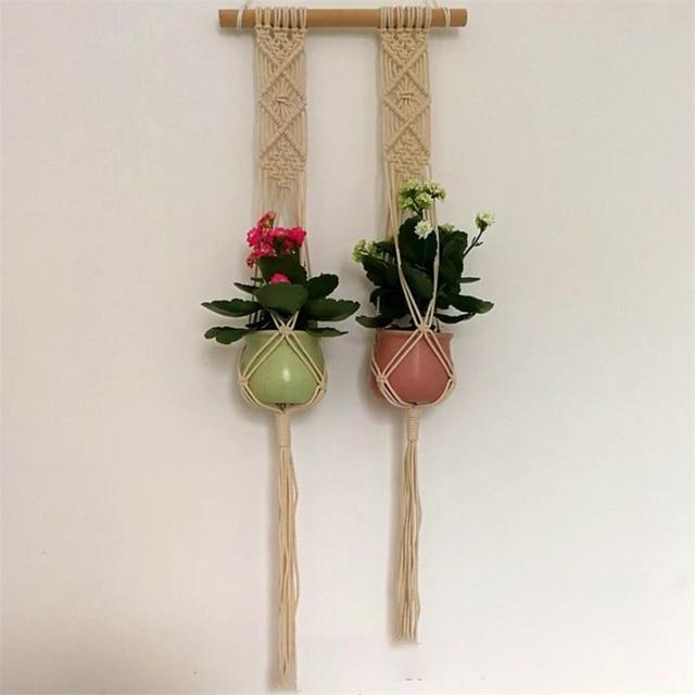 Adeeing Handmade Weave Rope Plants Hanger Indoor Outdoor Hanging Planter Flowerpot Holder