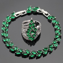 Ashley Green Created Emerald White CZ Silver Color Jewelry Sets For Women Bracelet Rings Free Gift Box Made in China