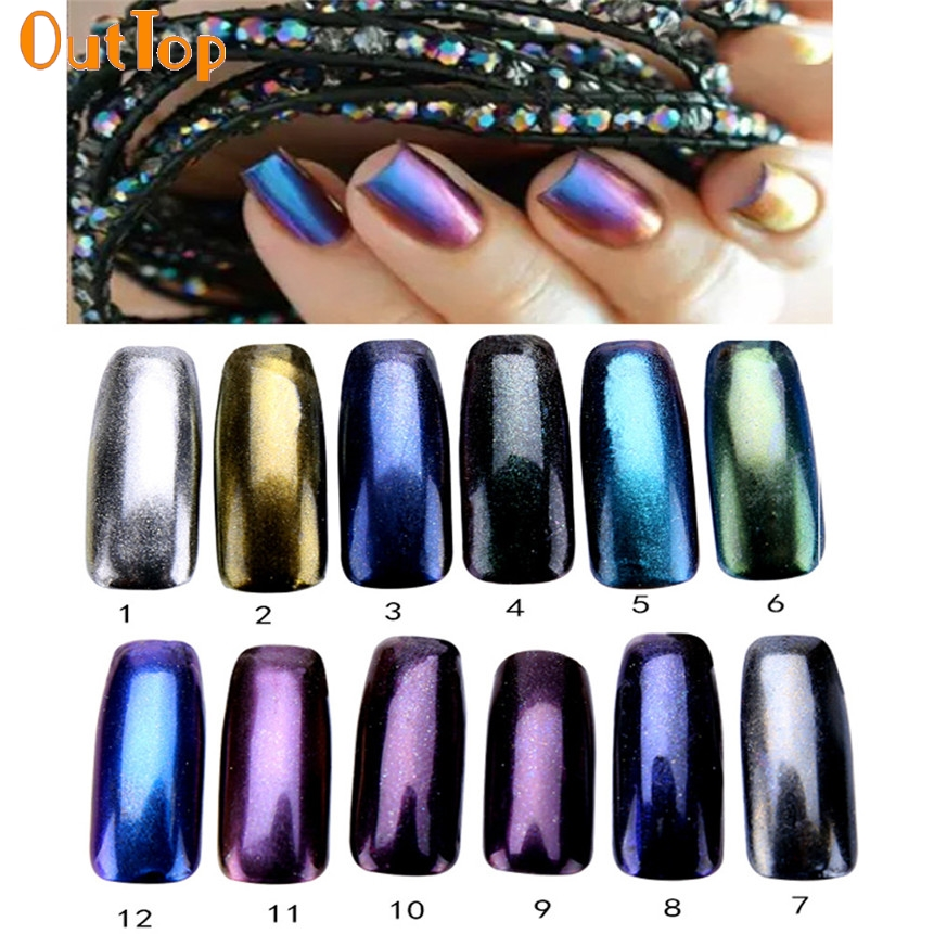 OutTop ColorWomen 1g/ Box Nail Glitter Powder Shinning