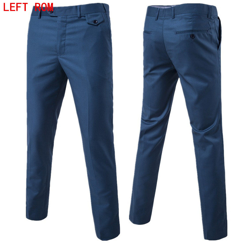 2017 slim fit Summer Business men formal suit pants wedding bridegroom trousers S-6XL 9 color High quality trousers(China)