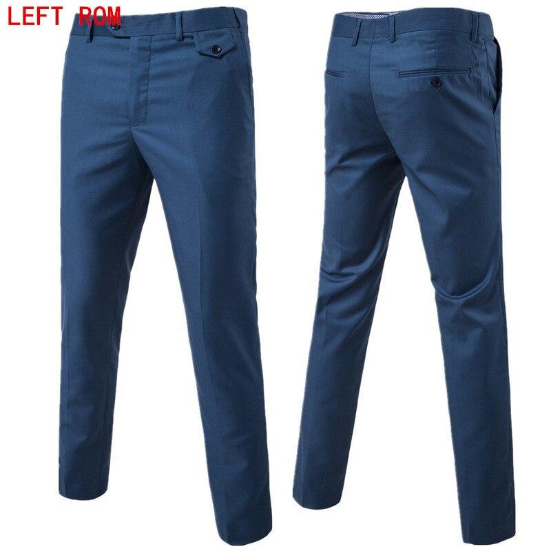 Mens Slim Fit Straight Solid 10 clolor Slacks Trousers Formal Business Pants new
