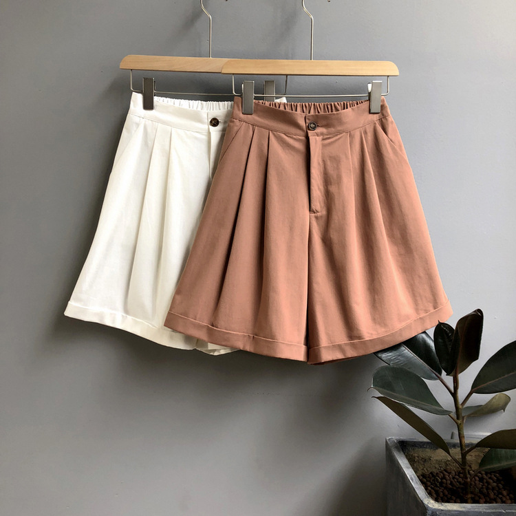 Summer Casual Women Camo   Shorts   High Waist Wide Leg Orange White Hotpants