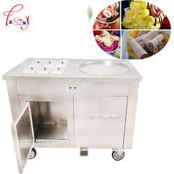 CBJY-1D6A commercial fried ice cream roll fried yogurt machine a single pot with cold storage cabinet fried milk roll machine