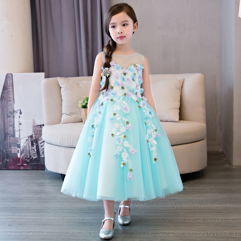 2017 New Green Formal Evening Gown Flowers Wedding Princess Dress Girls Children Clothing Kids Dresses for Birthday Party Dress