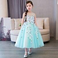 2019 Новое зеленое вечернее платье с цветами, свадебное платье принцессы, детская одежда для девочек, детские платья для дня рождения, праздни