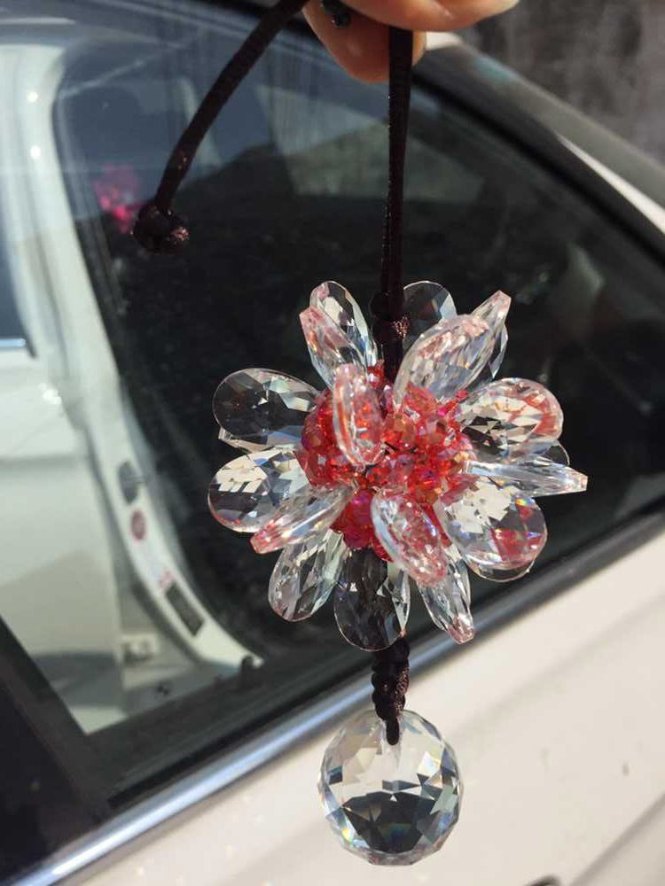 buy crystal flower car interior rear mirror hanging accessories super girl. Black Bedroom Furniture Sets. Home Design Ideas