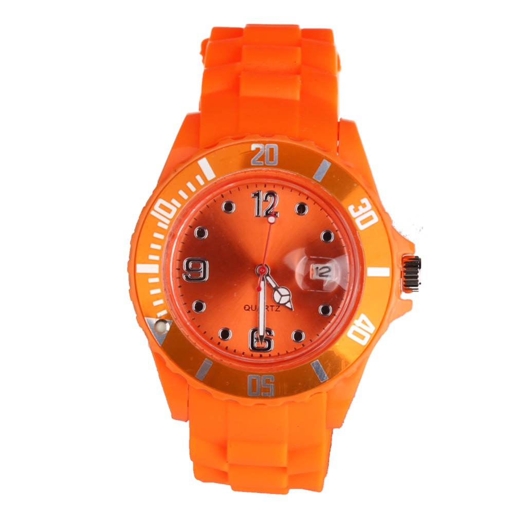 New Fashion Unisex Women Wristwatch Quartz Watch Sports Casual Silicone Reloj Gifts Relogio Feminino Clock Digital Watch Orange geneva casual watch women dress watch 2017 quartz military men silicone watches unisex wristwatch sports watch relogio feminino
