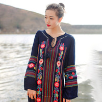2017Summer Autumn Europe And America Style Loose Embroidery Long Sleeve Dress Women V Neck Side Fork