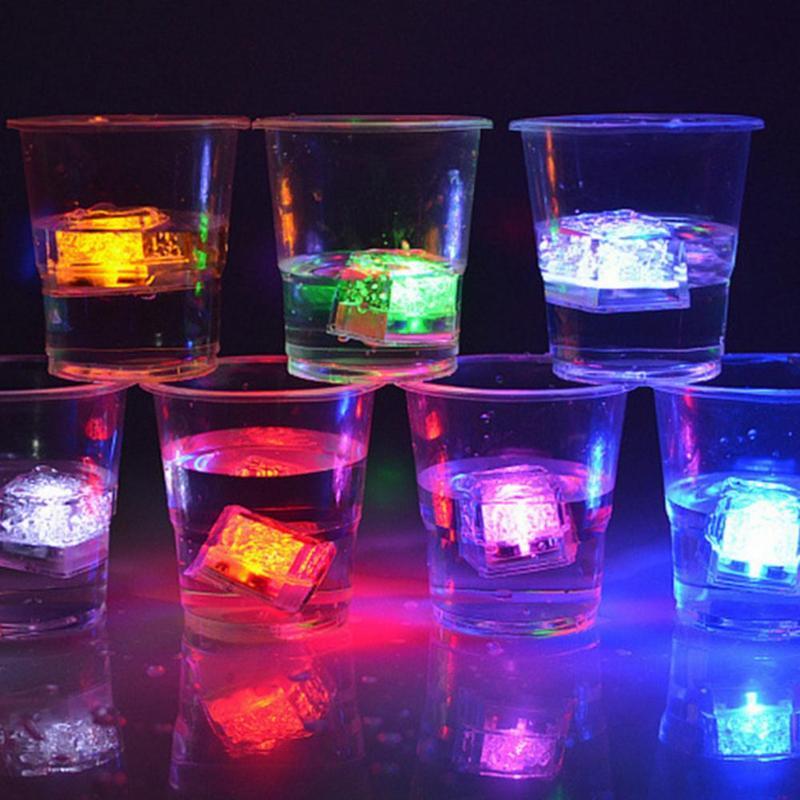 LED Ice Cubes Light Flash Festival Wedding Festival Party Xmas Decoration Color Bar Wine Glass Decoration Supplies 12PCS