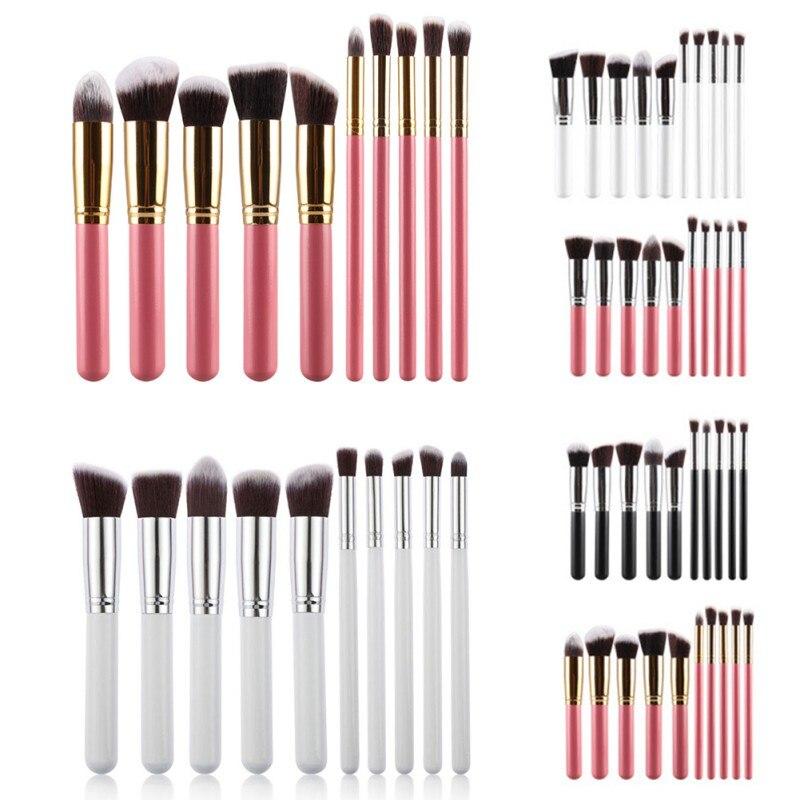 New 10 Pcs Professional Eyeliner Lip Makeup Brushes Eyeshadow Blending Set Concealer Cosmetic Make Up Blushes Tool