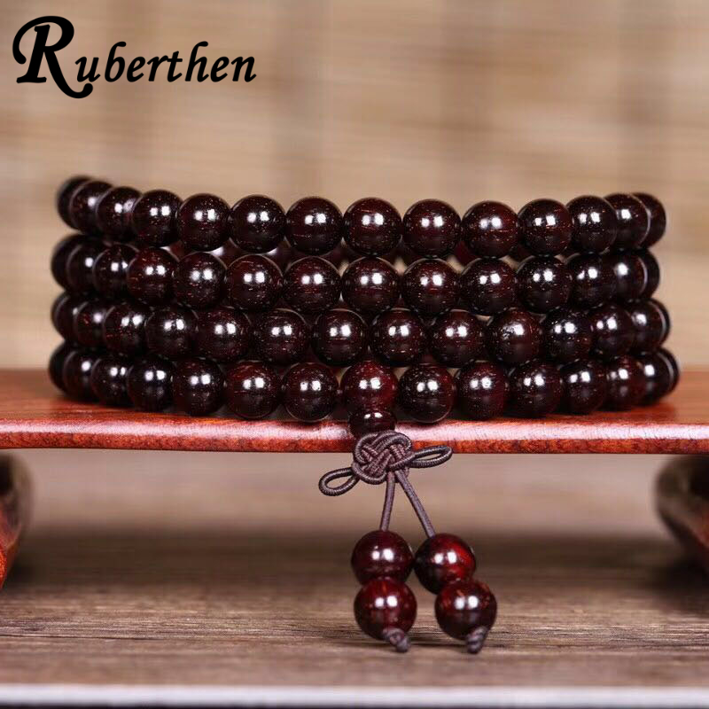 Ruberthen On Sale AB+ Natural Rosewood Bead Bracelet Vintage Design Women or Men Bracelet Yoga Balance Jewelry Free Shipping