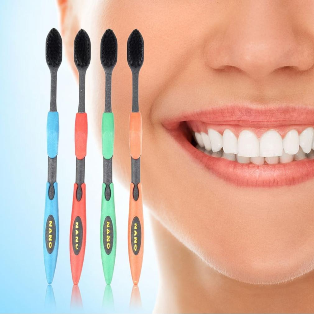 4 pcs Ultra Macio Escova de Carvão de Bambu escova de Dentes Higiene Bucal para Gengivas Sensíveis Cabeça Compacta E Design Slim