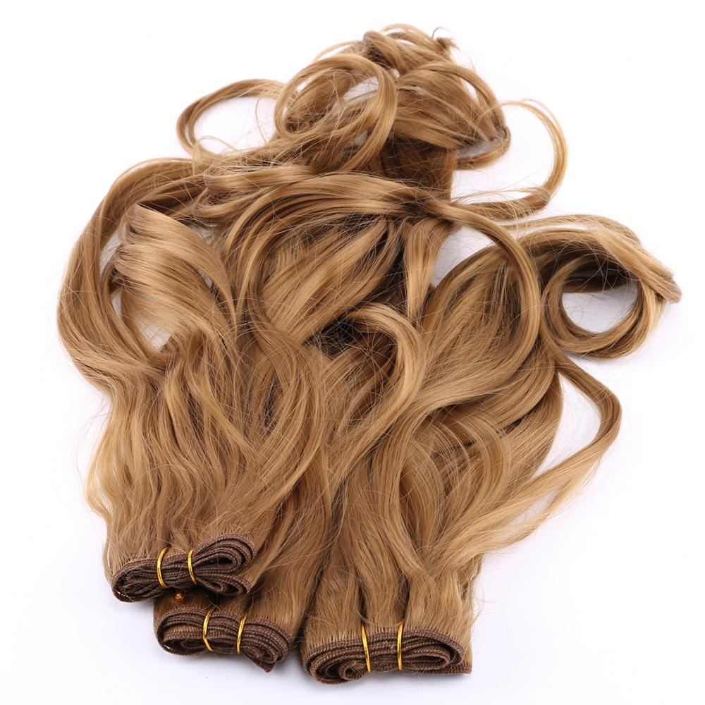 2 pieces/lot color Golden Big curly hair bundle Heat resistant synthetic hair weave extension for women(China)