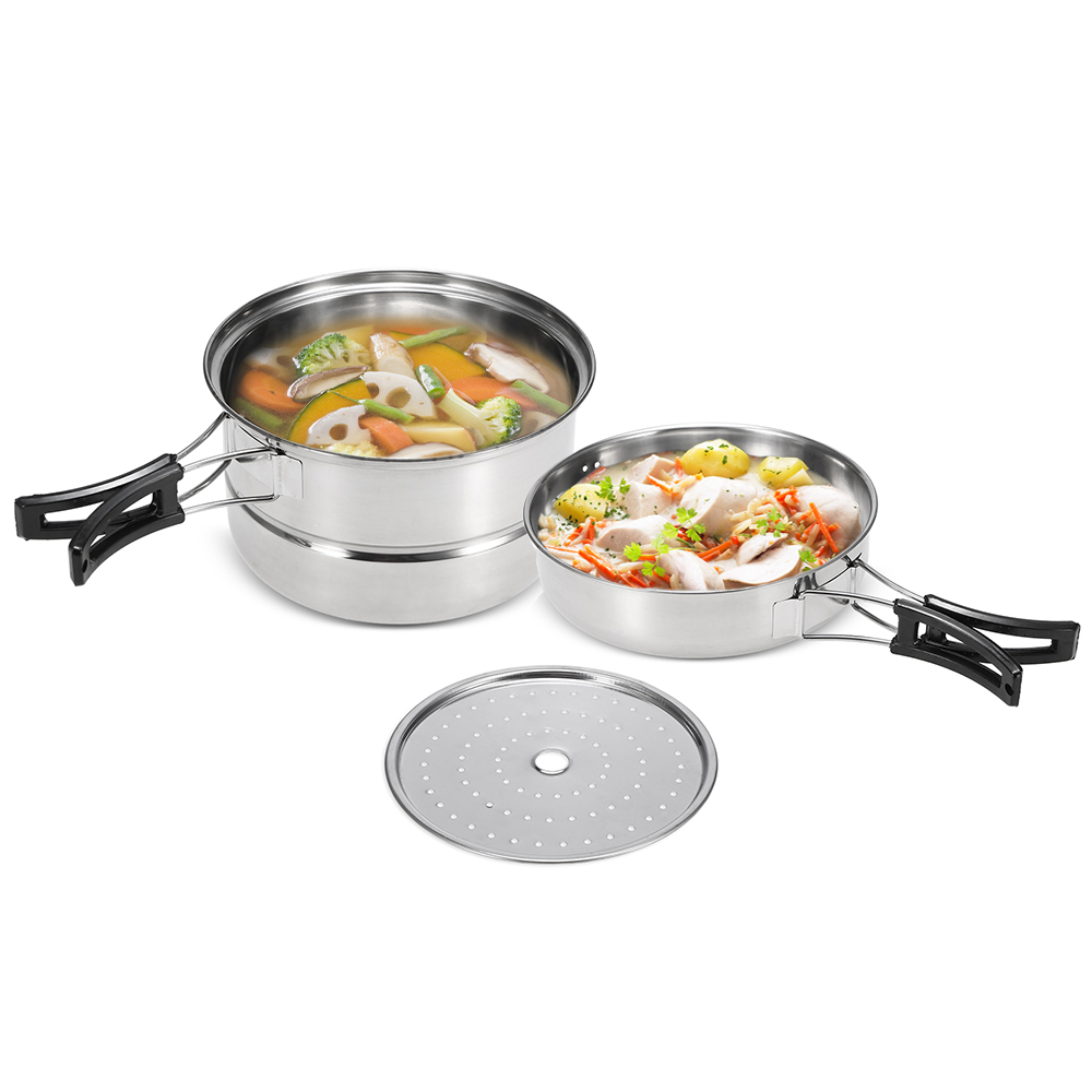 3Pcs Camping Cookware Set Stainless Steel Pot Frying Pan Steaming Rack Outdoor Home Kitchen Cooking Set-in Outdoor Tablewares from Sports & Entertainment